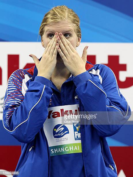 Rebecca Adlington of Great Britain wipes away tears after winning the gold medal in the Women's 800m Freestyle Final during Day Fifteen of the 14th...