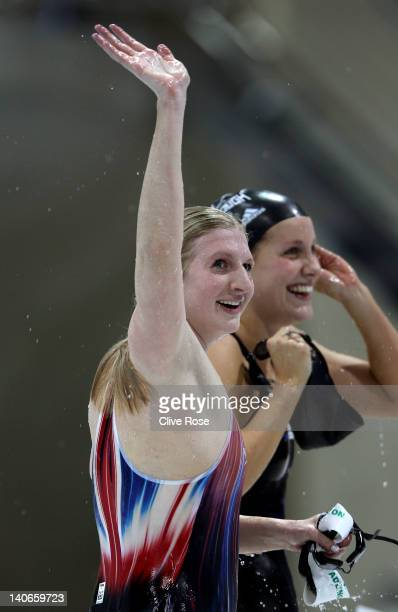 Rebecca Adlington of Nova Centurion celebrates winning the gold medal with Joanne Jackson of Loughborough University in the Womens Open 400m...