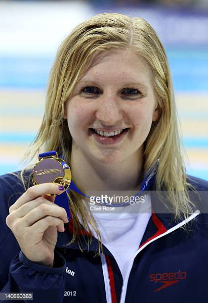 Rebecca Adlington of Nova Centurion poses with the gold medal in the Womens Open 400m Freestyle Final during day two of the British Gas Swimming...