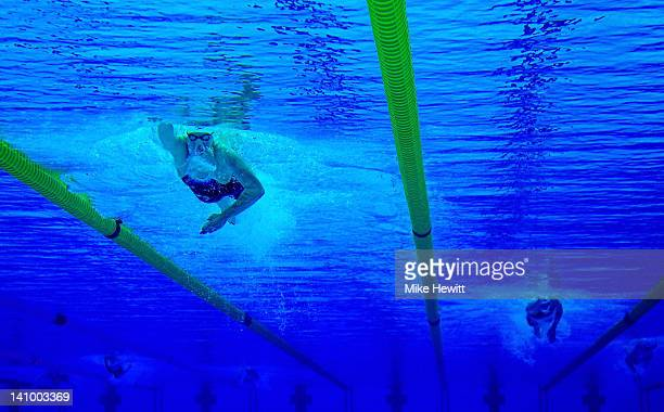 Rebecca Adlington of Nova Centurion SC competes in the Women's 800m Freestyle Final during day seven of the British Gas Swimming Championships at The...