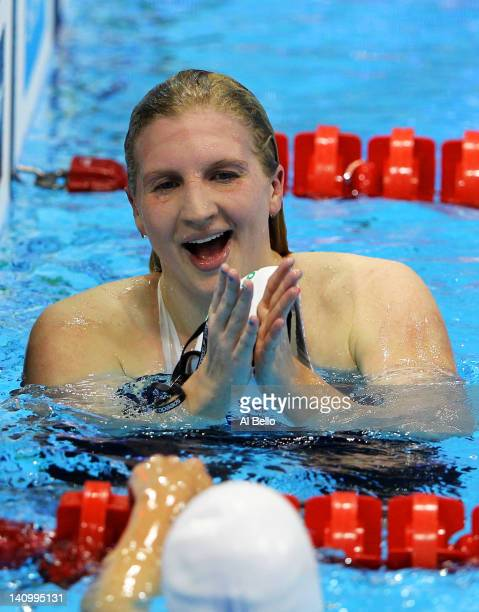 Rebecca Adlington of Nova Centurion SC smiles after winning the Women's 800m Freestyle Final during day seven of the British Gas Swimming...