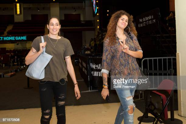 Rebecca Allen and Amanda Zahui B #17 of the New York Liberty arrive to the arena prior to the game against the Indiana Fever on June 10 2018 at...