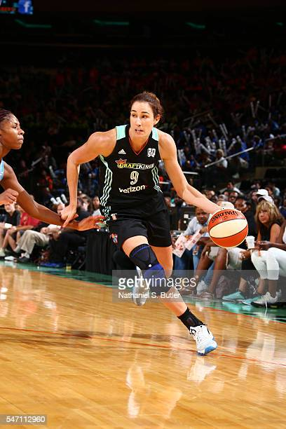 Rebecca Allen of the New York Liberty drives to the basket against the Atlanta Dream on July 13 2016 at Madison Square Garden in New York New York...
