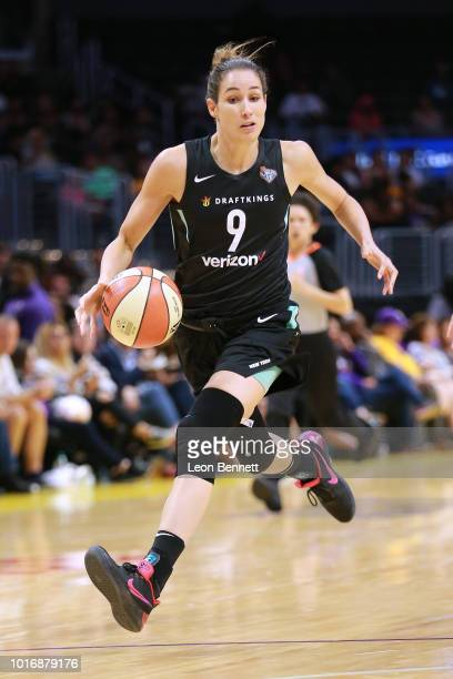 Rebecca Allen of the New York Liberty handles the ball against the Los Angeles Sparks during a WNBA basketball game at Staples Center on August 14...