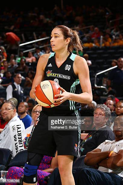 Rebecca Allen of the New York Liberty handles the ball against the Atlanta Dream on July 13 2016 at Madison Square Garden in New York New York NOTE...