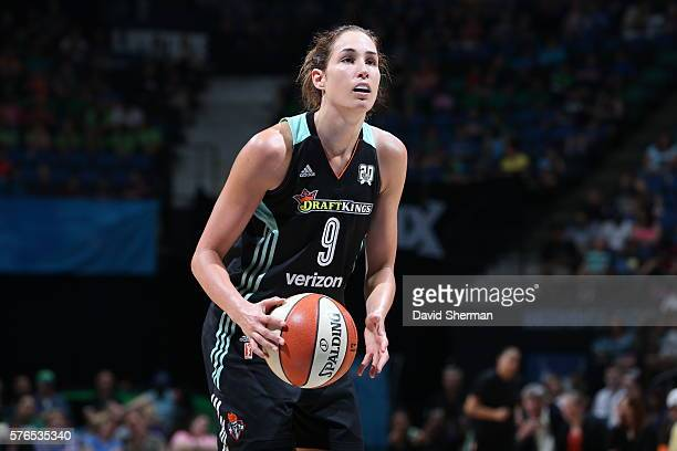 Rebecca Allen of the New York Liberty shoots a free throw against the Minnesota Lynx on July 15 2016 at Target Center in Minneapolis Minnesota NOTE...
