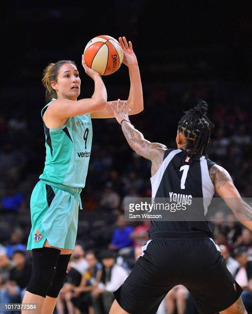 Rebecca Allen of the New York Liberty shoots against Tamera Young of the Las Vegas Aces at the Mandalay Bay Events Center on August 15 2018 in Las...