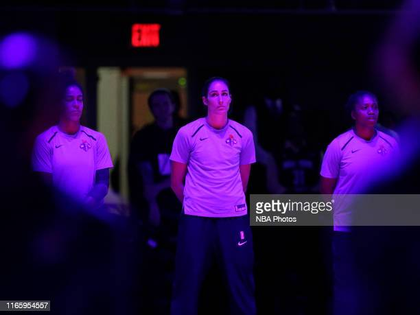 Rebecca Allen of the New York Liberty stands for the National Anthem before the game against the Phoenix Mercury on August 27 2019 at the Westchester...