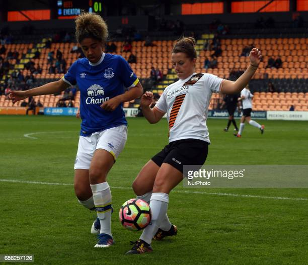 Rebecca Anderson of London Bees beats Gabby George of Everton Ladies during Women's Super League 2 Spring Series match between London Bees against...