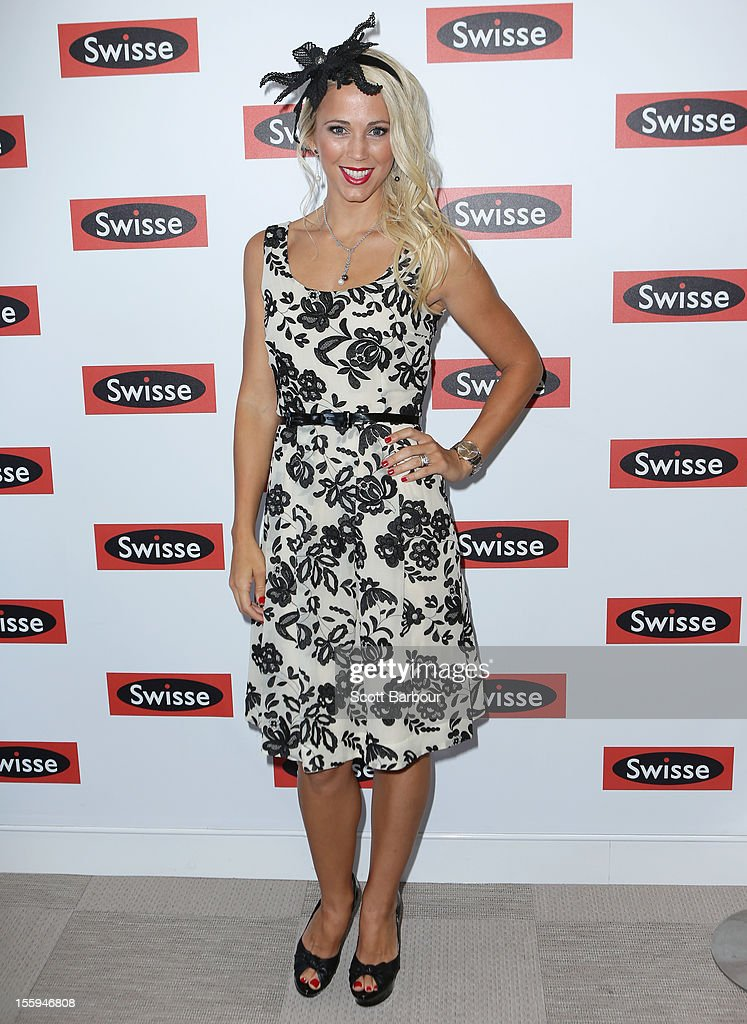 Rebecca 'Bec' Hewitt attends the Swisse marquee on Stakes Day at Flemington Racecourse on November 10, 2012 in Melbourne, Australia.