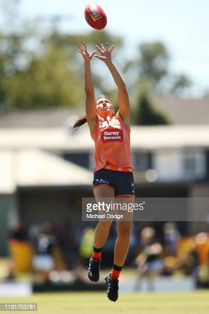 Rebecca Beeson of GWS marks the ball in the warm up during the AFLW Rd 4 match between Collingwood and GWS at Morwekk Recreation Reserve on February...