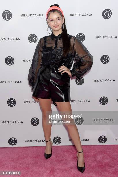 Rebecca Black attends Beautycon Los Angeles 2019 Pink Carpet at Los Angeles Convention Center on August 10 2019 in Los Angeles California
