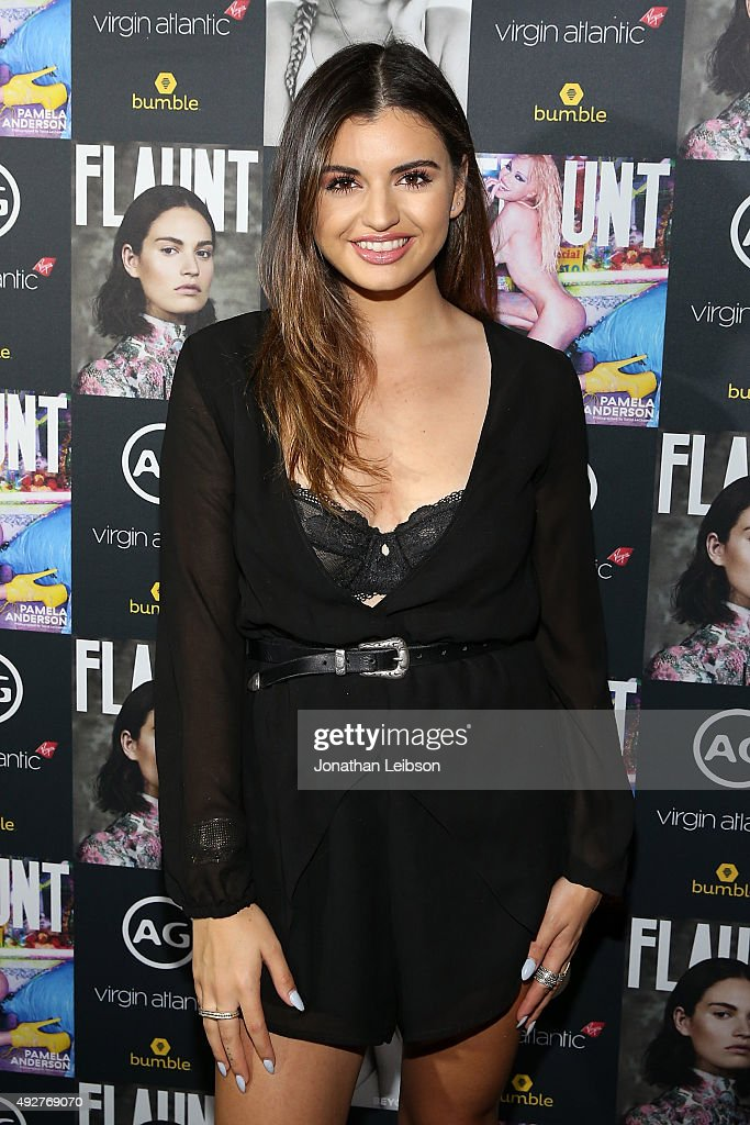 Rebecca Black attends the Flaunt Magazine And AG Celebrate The LA launch Of The CALIFUK Issue At The Hollywood Roosevelt at Hollywood Roosevelt Hotel on October 14, 2015 in Hollywood, California.
