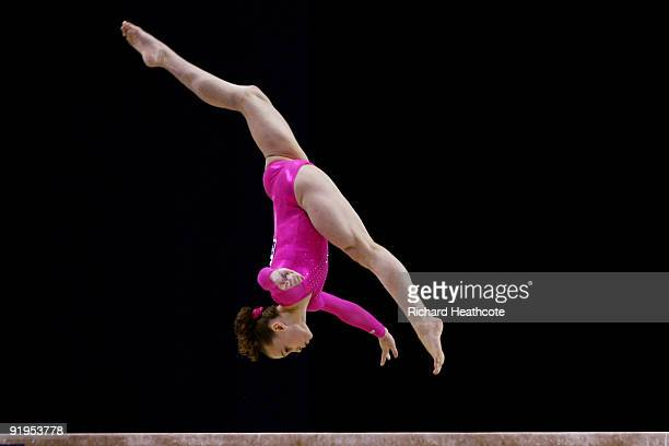 Rebecca Bross of USA competes in the balance beam eventduring the Women's All Round Final on the fourth day of the Artistic Gymnastics World...