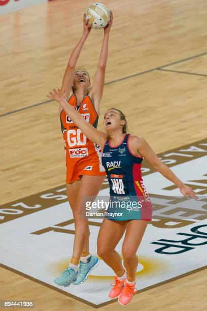 Rebecca Bulley of the Giants catches a pass during the Super Netball Preliminary Final match between the Vixens and the Giants at Hisense Arena on...