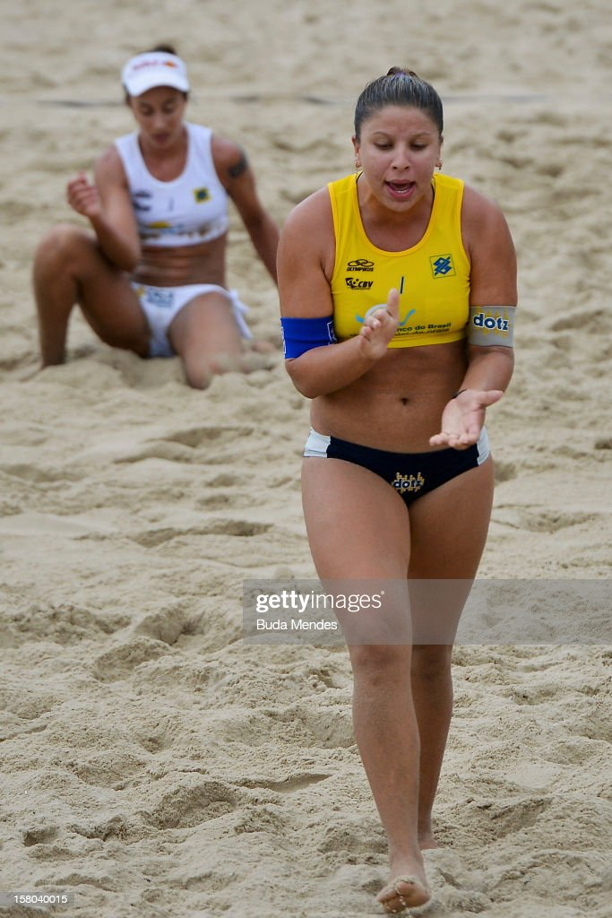 Rebecca celebrates a point in action during a beach volleyball match against the 6th stage of the season 2012/2013 Circuit Bank of Brazil at Copacabana Beach on December 09, 2012 in Rio de Janeiro, Brazil.