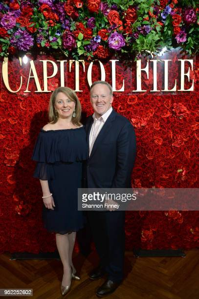 Rebecca Claire Miller and Sean Spicer attends the Capitol File White House Correspondents' Weekend Kickoff Celebration at The Kreeger Museum on April...