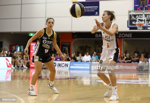 Rebecca Cole of the Melbourne Boomers passes the ball during game two of the WNBL Grand Final series between the Melbourne Boomers and the Townsville...