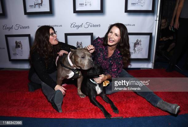 Rebecca Corry and Kristin Davis arrive with Sally and Todd the Pitbulls at the 9th Annual Stand Up For Pits event hosted by Kaley Cuoco at The Mayan...