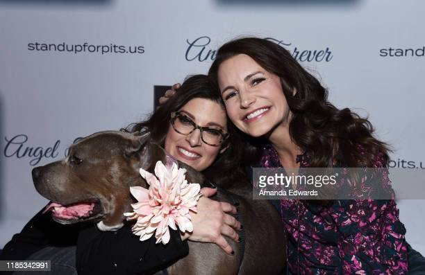 Rebecca Corry and Kristin Davis arrive with Sally the Pitbull at the 9th Annual Stand Up For Pits event hosted by Kaley Cuoco at The Mayan on...