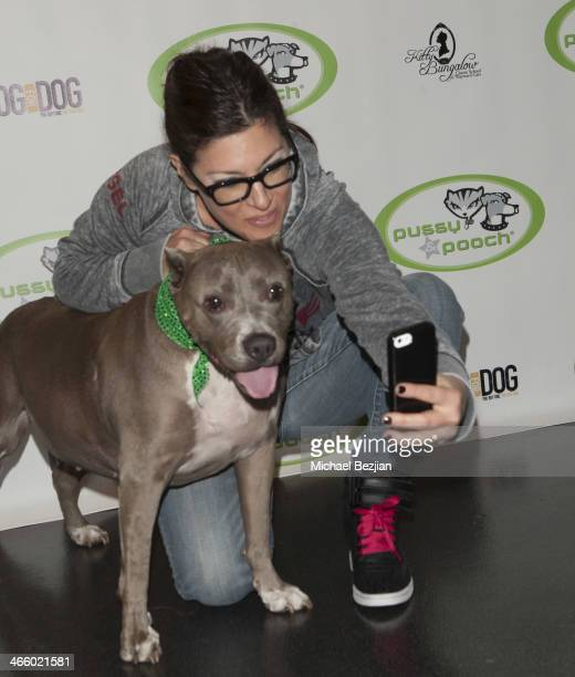 Rebecca Corry takes a selfie with her beast friend at Beast Friends A Fur Affair To Benefit Animal Welfare at Pussy Pooch Pet Lifestyle Center on...