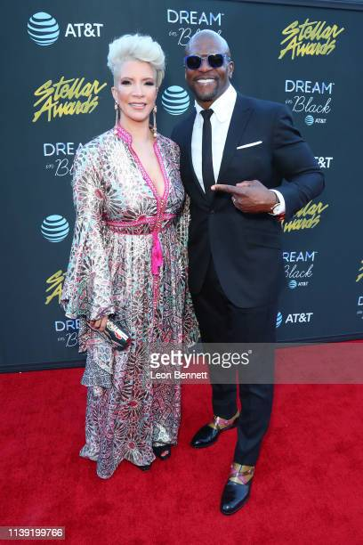Rebecca Crews and Terry Crews attend the 34th annual Stellar Gospel Music Awards at the Orleans Arena on March 29 2019 in Las Vegas Nevada