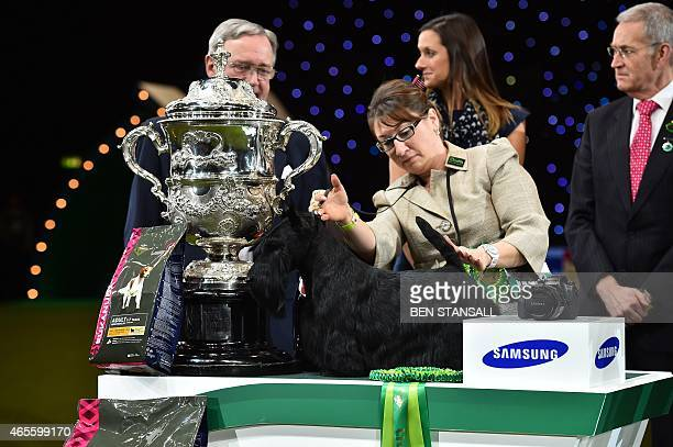 Rebecca Cross with the Scottish Terrier 'Knopa' bred in US with Russian ownership from the Terrier Group and winner of the Best in Show category...