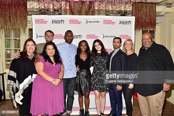 Rebecca Damon David Nugent Jenelle Riley Mahershala Ali Aja Naomi King Kara Hayward Riz Ahmed Anne Chaisson and Mike Hodge pose at Variety's 10 To...