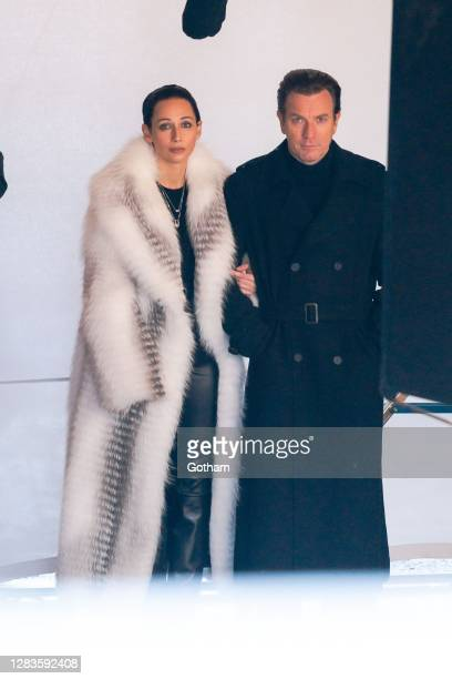 Rebecca Dayan and Ewan McGregor are seen filming a scene for 'Halston' in Central Park on November 02 2020 in New York City