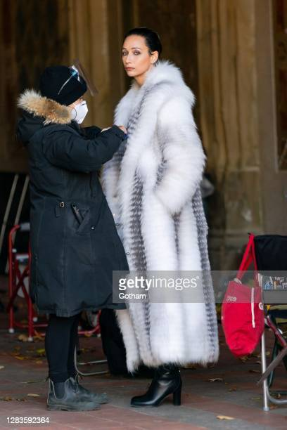 Rebecca Dayan is seen filming a scene for 'Halston' in Central Park on November 02 2020 in New York City
