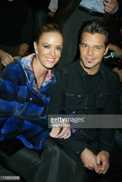 Rebecca De Alba and Ricky Martin during Giorgio Armani Spring Summer 2005 Collection Front Row and Backstage at Pier 94 in New York City New York...
