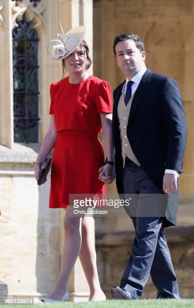 Rebecca Deacon and Gibraltarian footballer Adam Priestley arrive at the wedding of Prince Harry to Ms Meghan Markle at St George's Chapel Windsor...
