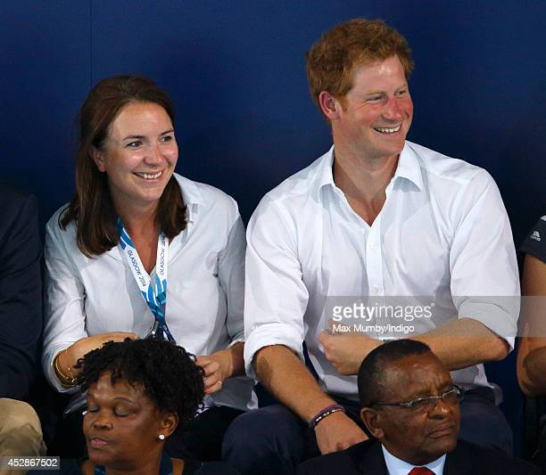 Rebecca Deacon and Prince Harry watch the swimming at the Tollcross International Swimming Centre during the 20th Commonwealth Games on July 28 2014...