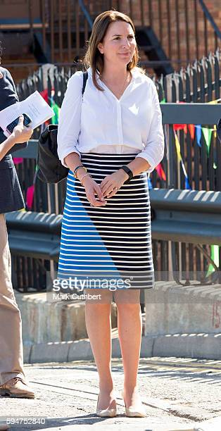 Rebecca Deacon during a visit by Catherine Duchess of Cambridge and Prince William Duke of Cambridge to Bute Mills on August 24 2016 in Luton England