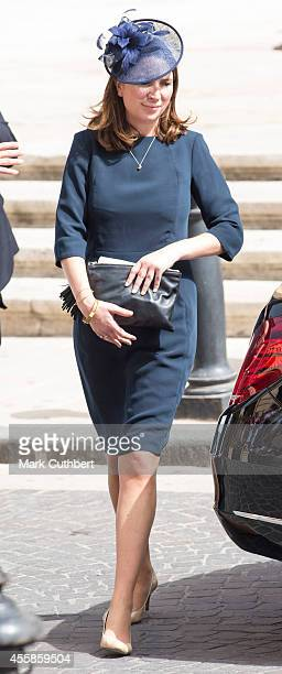 Rebecca Deacon joins Prince William Duke of Cambridge for a visit to the St John's CoCathedral for an Independence Day Service during an official...