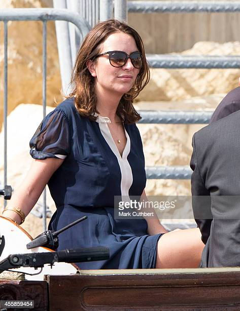 Rebecca Deacon on the boat with Prince William Duke of Cambridge during his boat tour around the Grand harbour to see some views of Valetta and...