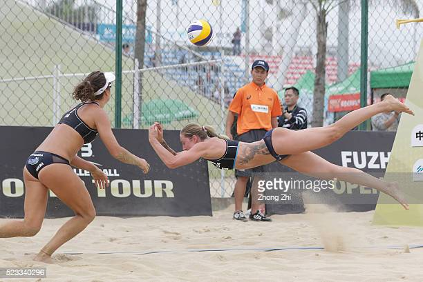 Rebecca Diane Perry of Italy in action with Laura Giombini of Italy during the match against Ukolova/Birlova team of Russia during the FIVB Beach...