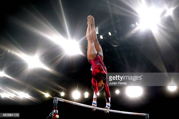 Rebecca Downie of England competes in the Women's Uneven Bars Final at SSE Hydro during day eight of the Glasgow 2014 Commonwealth Games on July 31...