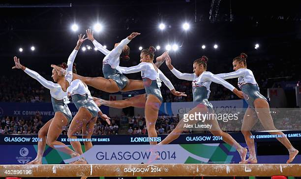 Rebecca Downie of England competes on the Beam during the Women's Gymnastics Artistic Team Final at SECC Precinct during day six of the Glasgow 2014...
