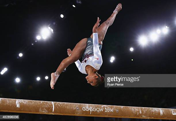 Rebecca Downie of England competes on the Beam during the Women's Team Event at SECC Precinct during day six of the Glasgow 2014 Commonwealth Games...