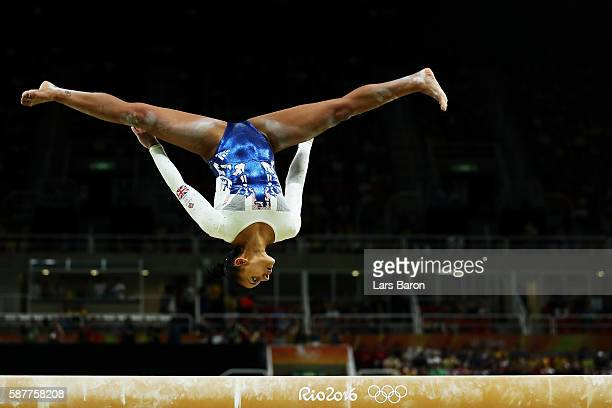 Rebecca Downie of Great Britain competes on the balance beam during the Artistic Gymnastics Women's Team Final on Day 4 of the Rio 2016 Olympic Games...