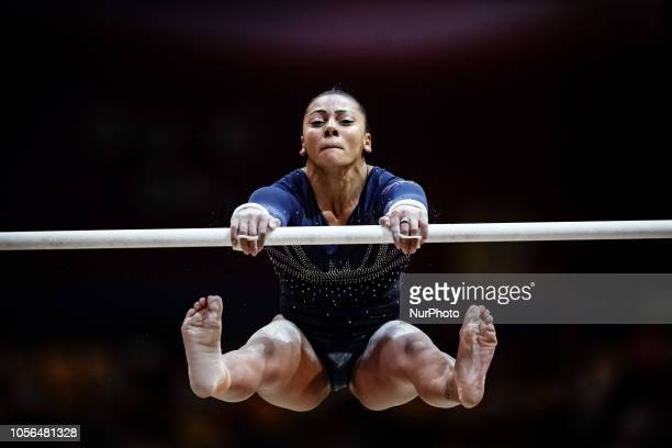 Rebecca Downie of  Great Britain during Uneven Bars for Women at the Aspire Dome in Doha Qatar Artistic FIG Gymnastics World Championships on 2 of...