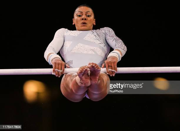 Rebecca Downie of Great Britain during uneven bars for women at the 49th FIG Artistic Gymnastics World Championships in Hanns Martin Schleyer Halle...