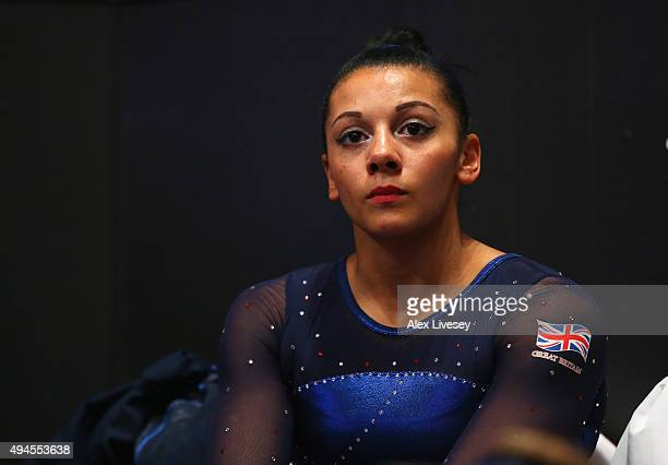 Rebecca Downie of Great Britain looks on during the Uneven Bars on Day 5 of the 2015 World Artistic Gymnastics Championships at The SSE Hydro on...