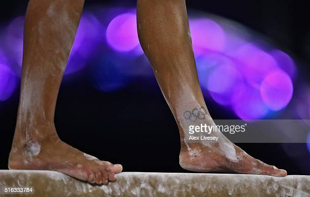 Rebecca Downie of the British Gymnastics Team competes on the Beam during Women's National Senior Team Championships at the Emirates Arena on March...