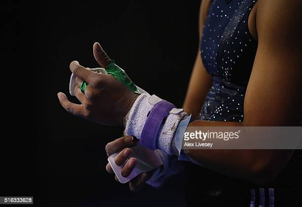 Rebecca Downie of the British Gymnastics Team gets ready to perform on the Uneven Bars during Women's National Senior Team Championships at the...