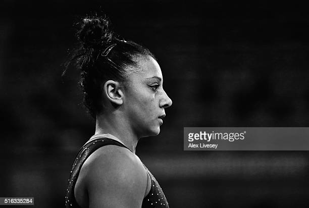Rebecca Downie of the British Gymnastics Team looks on during Women's National Senior Team Championships at the Emirates Arena on March 13 2016 in...
