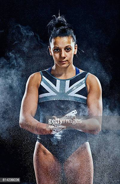 Rebecca Downie of the British Gymnastics Team poses during a portrait session at Lilleshall National Sports Centre on February 11 2016 in Shropshire...