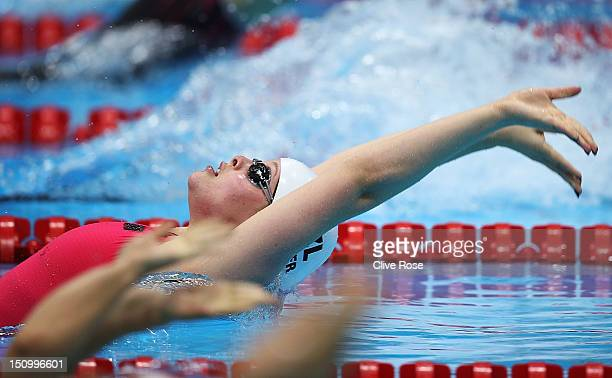 Rebecca Dubber of New Zeland competes in the Women's 100m Backstroke S7 heat 1 on day 1 of the London 2012 Paralympic Games at Aquatics Centre on...
