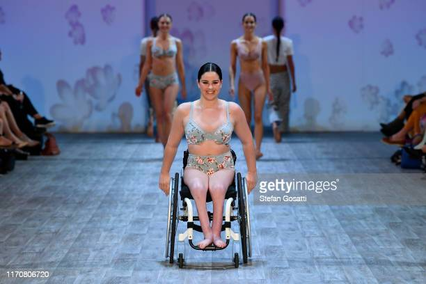 Rebecca Dubber walks wears a design by Jockey during the Resene Designer show during New Zealand Fashion Week 2019 at Auckland Town Hall on August 29...